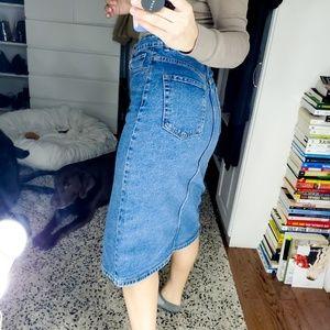 Zara Denim Midi Pencil Jean Skirt